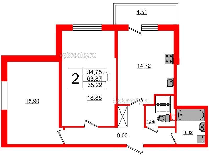 Планировка Двухкомнатная квартира площадью 63.87 кв.м в ЖК «МореОкеан»