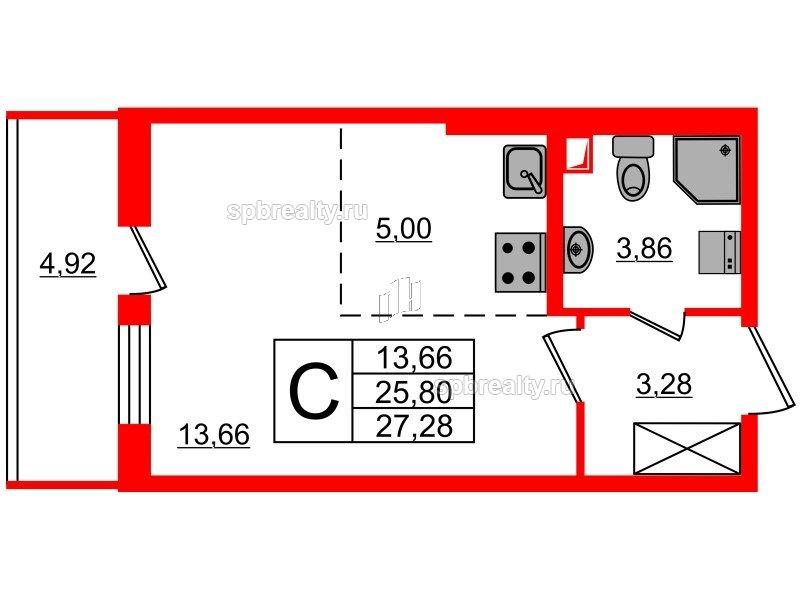 Планировка Студия площадью 25.8 кв.м в ЖК «МореОкеан»
