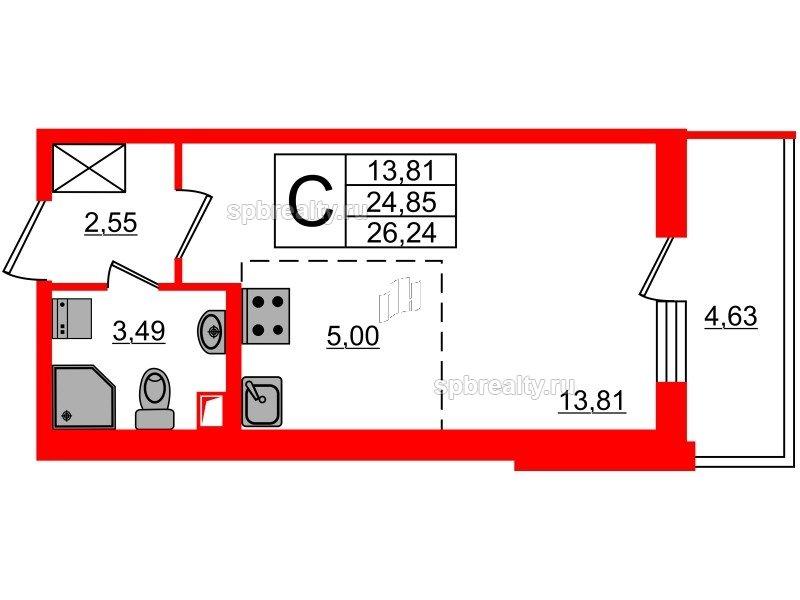 Планировка Студия площадью 24.85 кв.м в ЖК «МореОкеан»