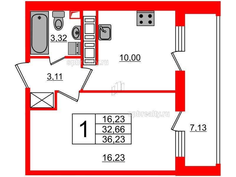 Планировка Однокомнатная квартира площадью 32.66 кв.м в ЖК «МореОкеан»