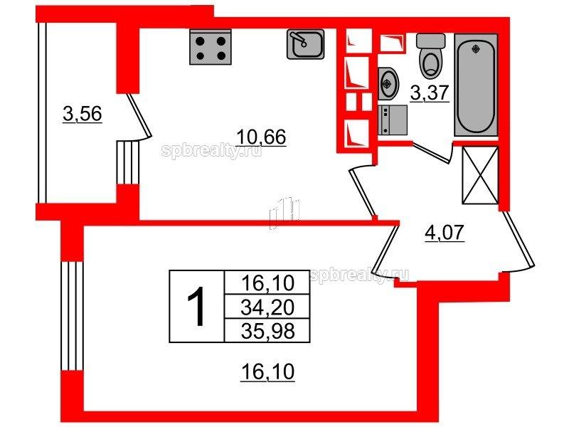 Планировка Однокомнатная квартира площадью 34.2 кв.м в ЖК «МореОкеан»