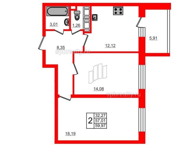 Планировка Двухкомнатная квартира площадью 57.01 кв.м в ЖК «МореОкеан»