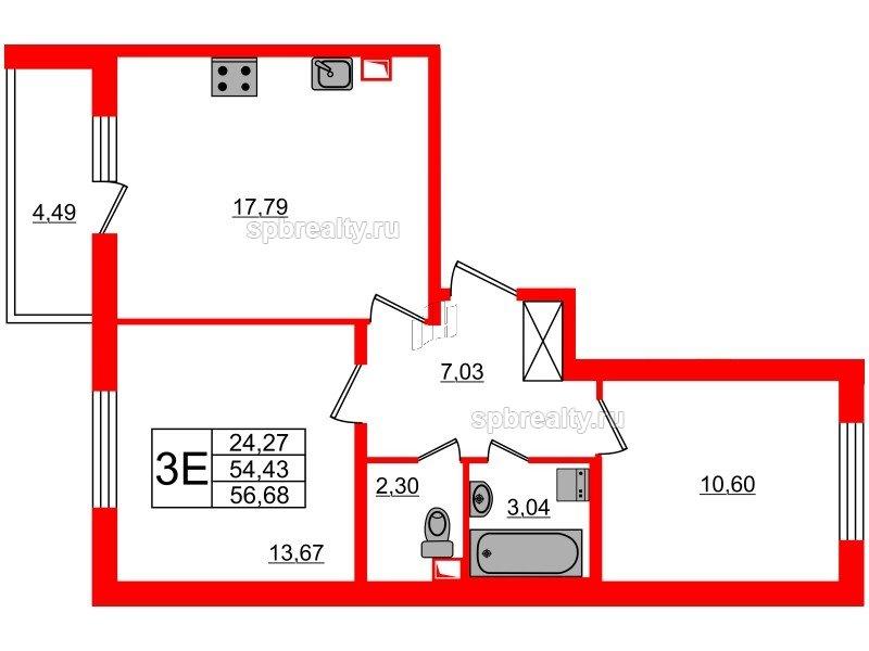 Планировка Двухкомнатная квартира площадью 54.43 кв.м в ЖК «МореОкеан»
