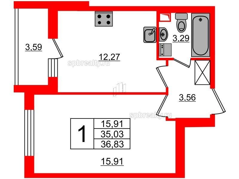 Планировка Однокомнатная квартира площадью 35.03 кв.м в ЖК «МореОкеан»