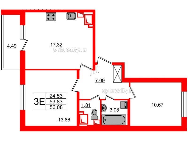 Планировка Двухкомнатная квартира площадью 53.83 кв.м в ЖК «МореОкеан»