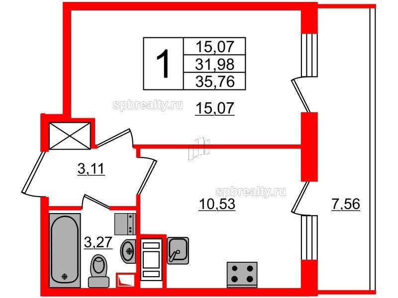Планировка Однокомнатная квартира площадью 31.98 кв.м в ЖК «МореОкеан»