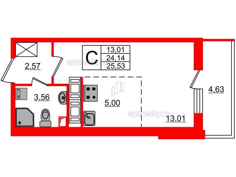 Планировка Студия площадью 24.14 кв.м в ЖК «МореОкеан»
