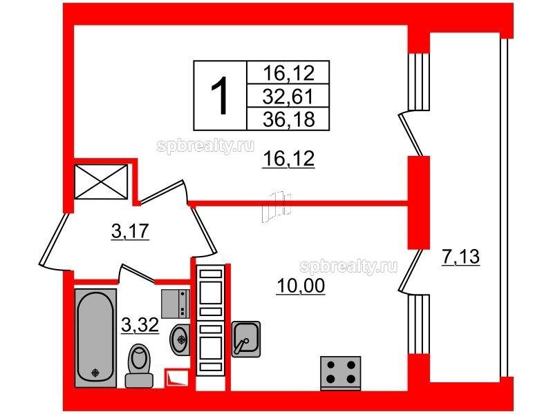 Планировка Однокомнатная квартира площадью 32.61 кв.м в ЖК «МореОкеан»
