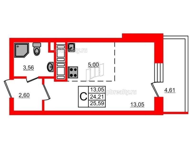 Планировка Студия площадью 24.21 кв.м в ЖК «МореОкеан»