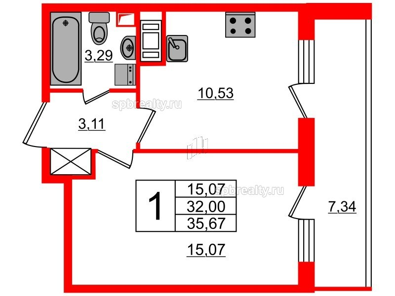 Планировка Однокомнатная квартира площадью 32 кв.м в ЖК «МореОкеан»