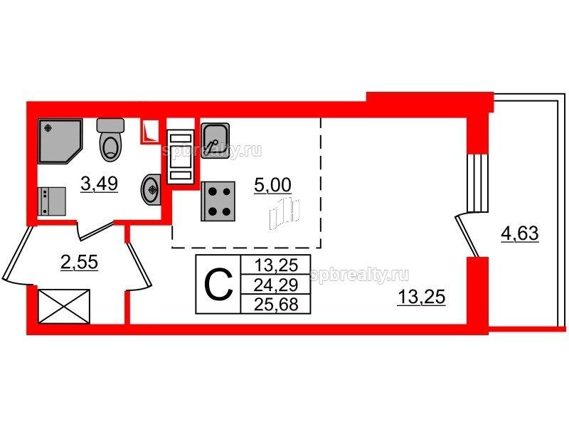 Планировка Студия площадью 24.29 кв.м в ЖК «МореОкеан»