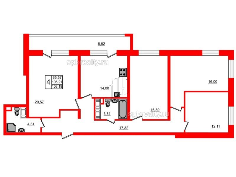 Планировка Четырёхкомнатная квартира площадью 105.21 кв.м в ЖК «МореОкеан»