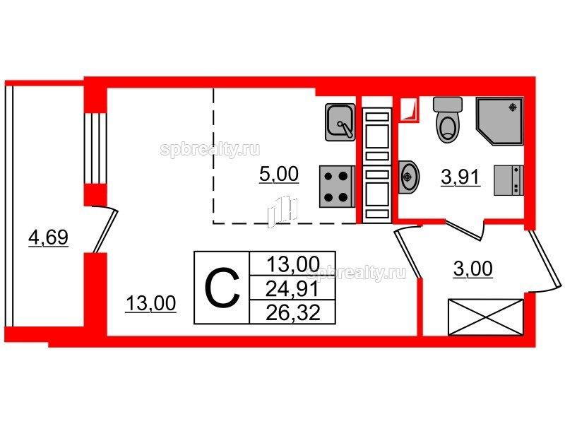 Планировка Студия площадью 24.91 кв.м в ЖК «МореОкеан»
