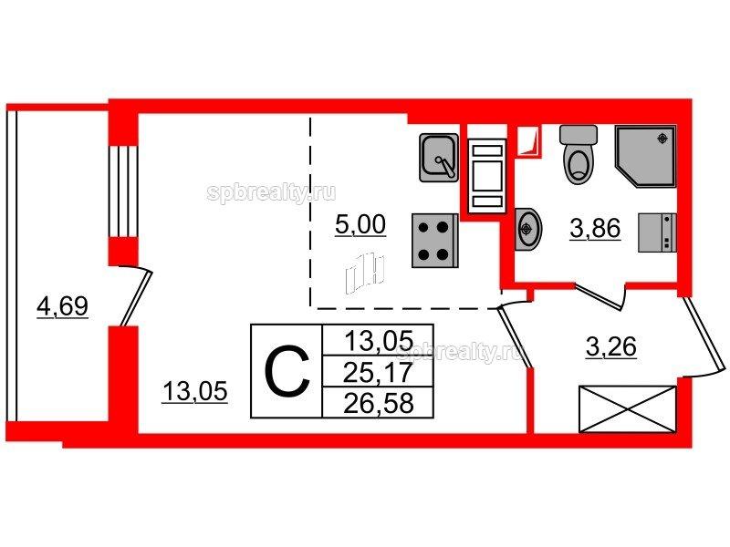 Планировка Студия площадью 25.17 кв.м в ЖК «МореОкеан»