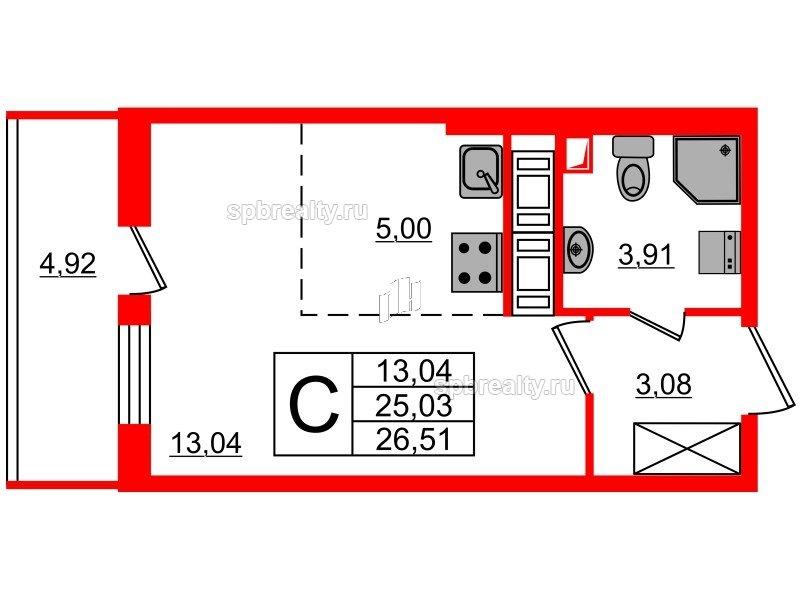Планировка Студия площадью 25.03 кв.м в ЖК «МореОкеан»