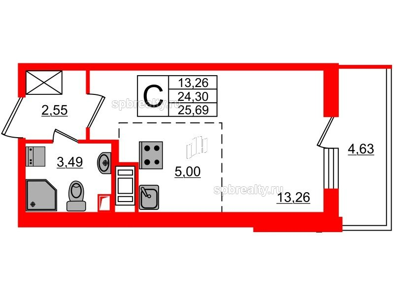 Планировка Студия площадью 24.3 кв.м в ЖК «МореОкеан»