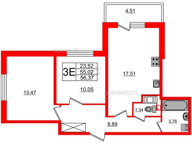 Планировка Двухкомнатная квартира площадью 55.02 кв.м в ЖК «МореОкеан»